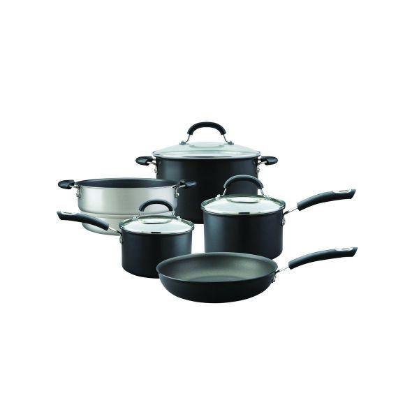 Circulon Total Hard Anodised 5 Piece Pan Set  (14/16cm Saucepans, 20cm Stockpot, 20cm Steamer Insert) Non-Stick