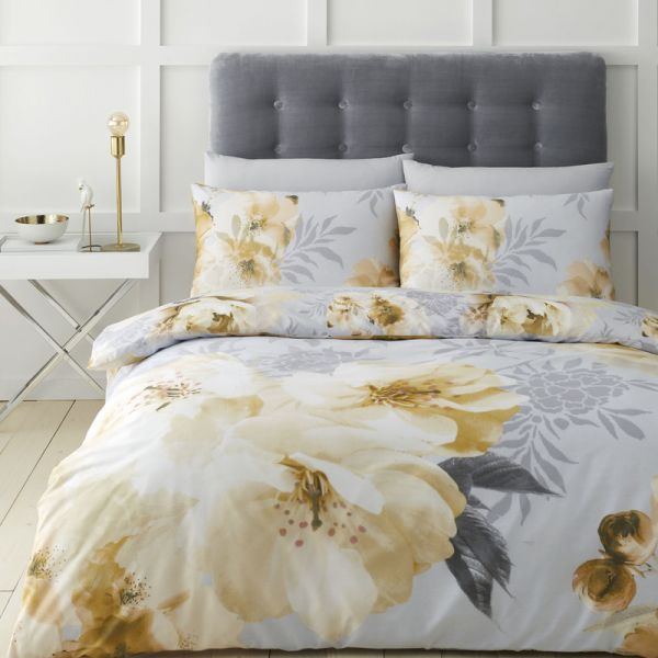 Catherine Lansfield Dramatic Floral Easy Care King Duvet Set Ochre