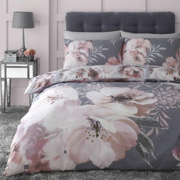 Catherine Lansfield Dramatic Floral Easy Care Single Duvet Set Grey