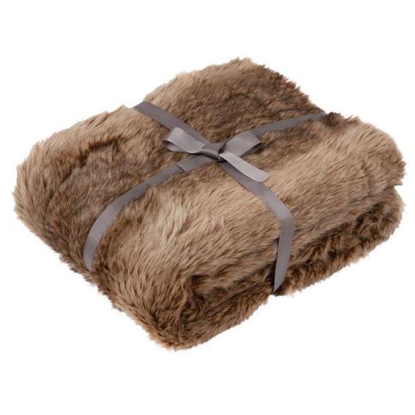 Julian Charles Dakota Chocolate Luxury Faux Fur Throw