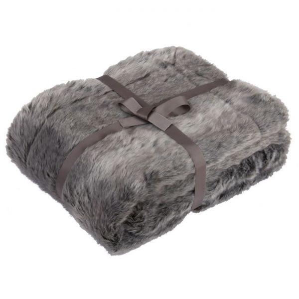 Julian Charles Dakota Silver Luxury Faux Fur Throw