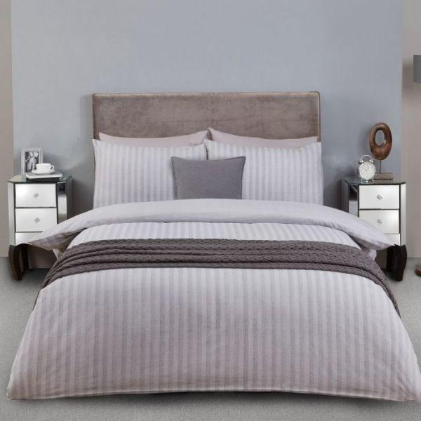Julian Charles Herringbone Brushed Cotton Duvet Set - Grey