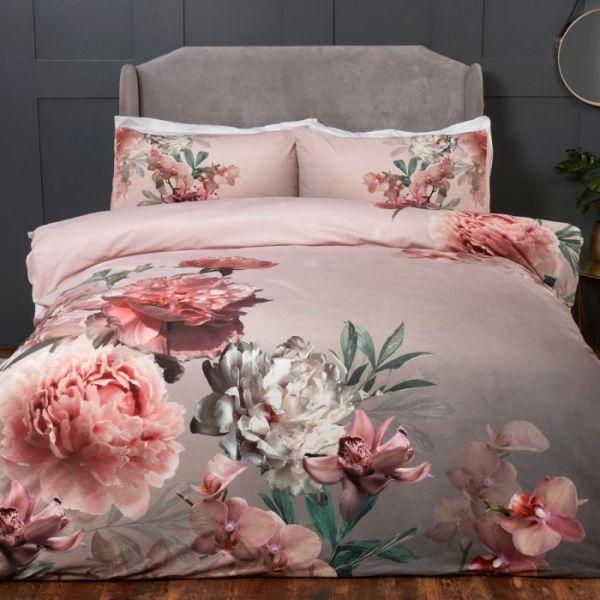 Julian Charles Aria Floral Print Velvet Touch Duvet Set Double