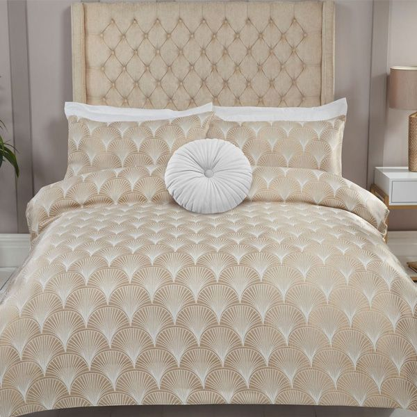 Julian Charles Venetia Gold Fan Luxury Jacquard Super King Size Duvet Set