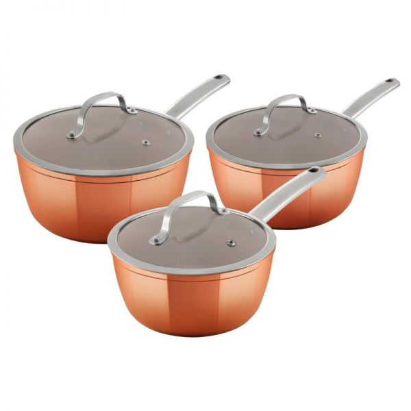Tower Copper Forged 3 Piece Saucepans